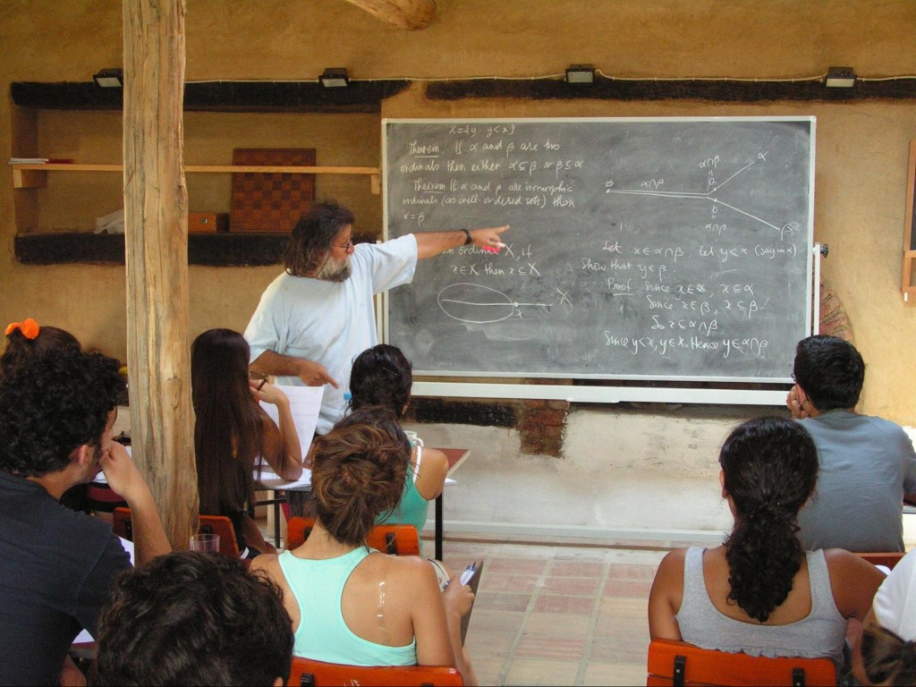 Ali Nesin is giving a lecture in the Robert Langlands Shed, photo by Alexandre Borovik